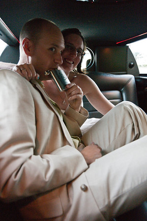 Taking a little nip of liquid courage in the limo